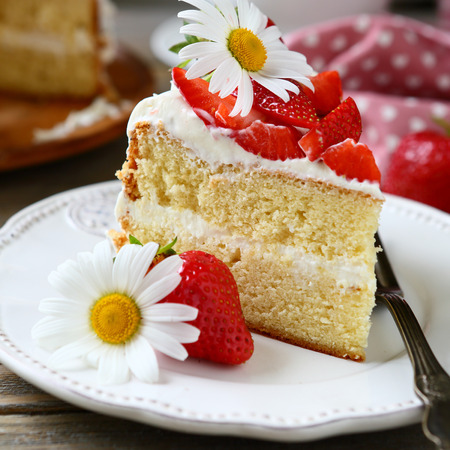 Sweet piece of cake on a plate, food close up photo