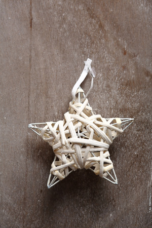 stock photo wicker white christmas star xmas decorations - Christmas Star Decorations