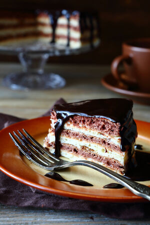 chocolate icing: Piece of rustic cake with chocolate icing, food Stock Photo