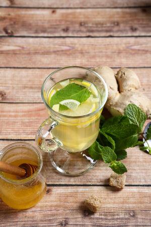 ginger tea: Ginger tea on the board Stock Photo