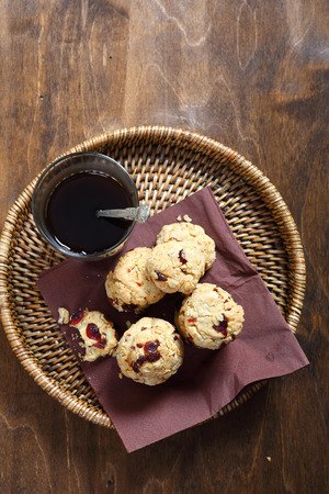 cofffee: Coffee and cookies with cranberries