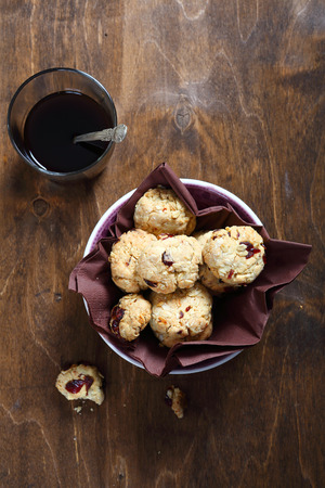 cofffee: Biscuits in a bowl with coffee, food Stock Photo