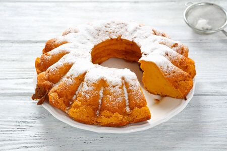 Delicious pumpkin cake on a plate, food