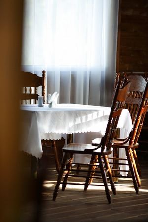 chairs: dining table and wooden chairs, hause