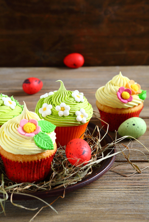 festive food: Easter cupcakes and eggs, festive food