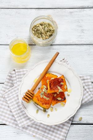 ovenbaked: Slice of oven-baked pumpkin Stock Photo