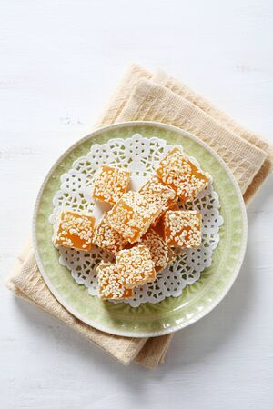 plate of food: Sweetness with sesame on a plate, food