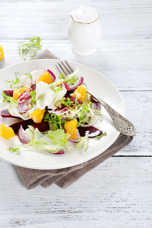 plate of food: Mixed salad on a plate, food Stock Photo