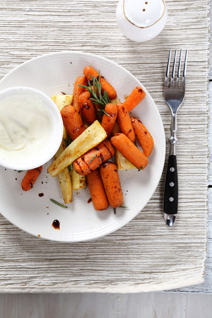plate of food: Carrots with parsnips on a plate, food Stock Photo