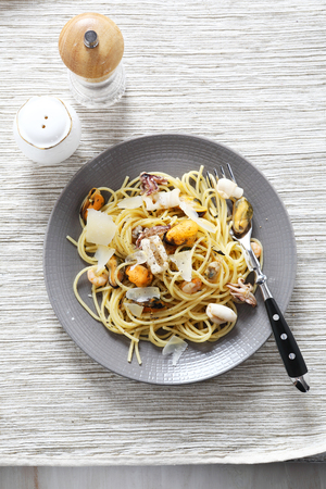 plate of food: Delicious pasta with seafood on a plate, food Stock Photo