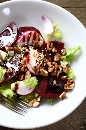 plate of food: Healthy beetroot salad on the plate, food Stock Photo