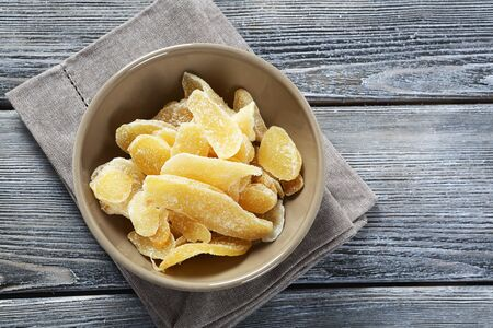 crystallized: candied ginger in a bowl, food