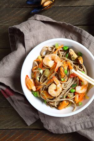 napkins: Nutritional noodles with shrimp, food top view Stock Photo