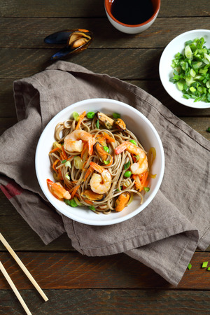 chinese noodle: Tasty noodles with shrimp, soba top view