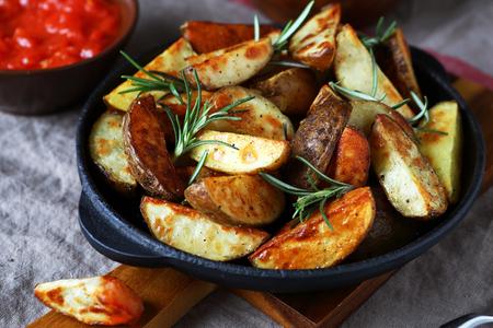 nourishing: Nourishing potatoes in a pan, food