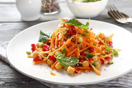 Salad with carrots and chickpeas, food