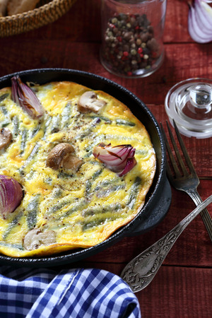 scrambled: Scrambled eggs with mushrooms and onions, food