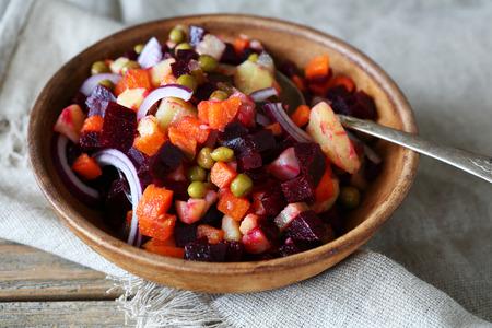 nourishing: Nourishing Russian salad in a bowl, food Stock Photo
