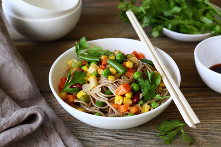 chinese noodle: noodles with roasted vegetables, chinese food Stock Photo