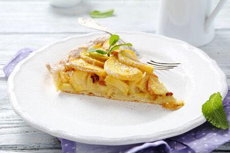 plate of food: Apple tart on a white plate, food Archivio Fotografico