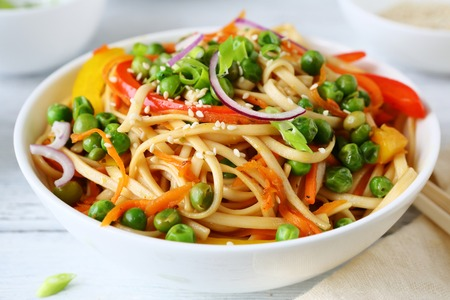chinese food: noodles and green pears, chinese food