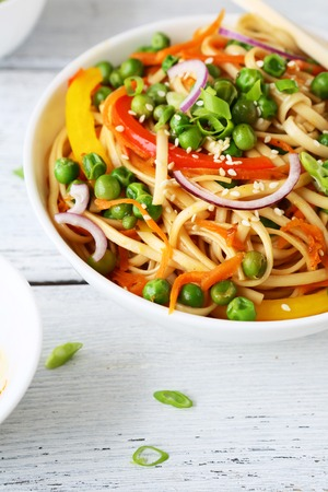 chinese food: noodles with vegetables  in white bowl, food Stock Photo
