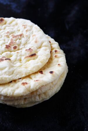 ethnic food: flat bread on baking tray, ethnic food Stock Photo