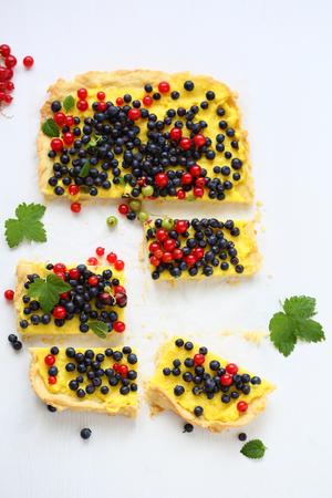 custard slice: slice of summer berry tart, top view Stock Photo