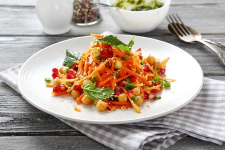 Tasty vegetable salad on a plate, food
