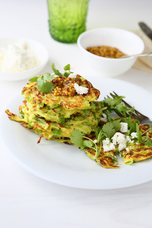 fritters: vegetables fritters with cilantro, food