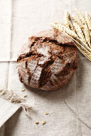 rye bread: Rye bread on a white linen napkin, food