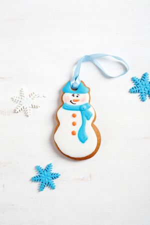 xmas background: Snowman on a white background, xmas cookies Stock Photo