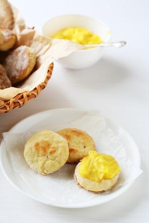 scones: fresh baked scones on plate, food
