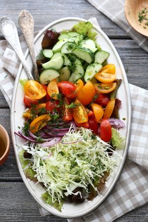rustic food: rustic salad on plate, food