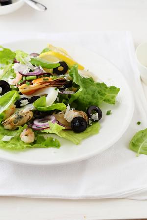 plate of food: seafood salad on plate, food