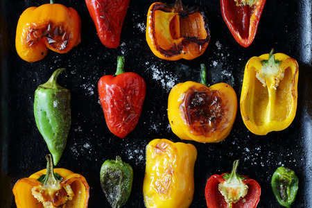 roasted pepper with sea salt, food top view 스톡 콘텐츠