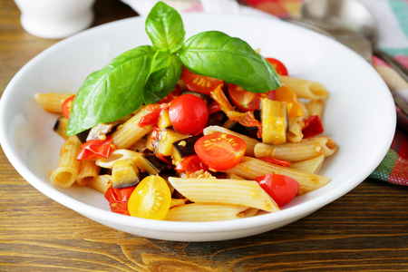 pasta sauce: pasta with slice eggplant, food closeup Stock Photo