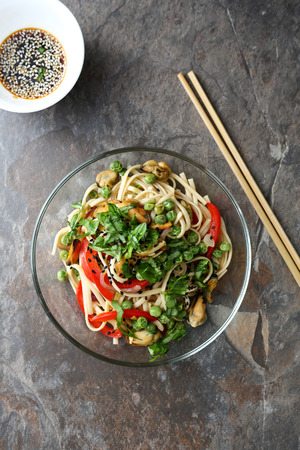 asian noodles: asian noodles with roasted seafood, above