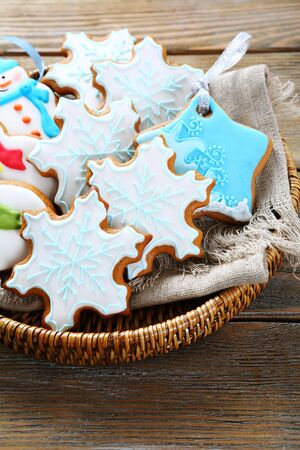 galletas de jengibre: Christmas composition of ginger cookies, food Foto de archivo