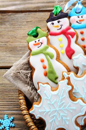winter wood: Christmas cookies in a wicker basket, xmas