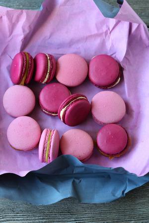 cookies: french sweetnees macarons, food top view