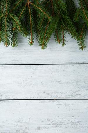 xmas background: wooden background with spruce, xmas Stock Photo
