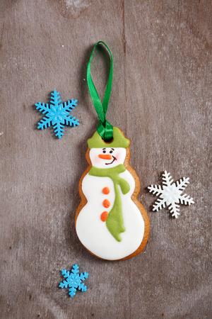 galletas de jengibre: Ginger cookies in the form of a snowman, xmas food