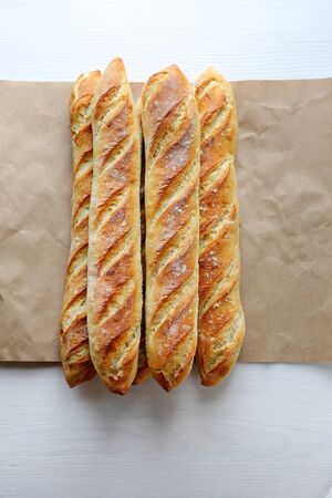 artisan bakery: fresh french breads, top view