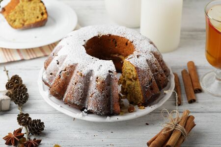 rum cake: christmas cake with rum, food closeup