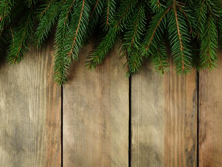 xmas background: xmas rustic background with spruce