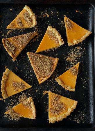 pumpkin pie: dark pumpkin pie with honey, top view