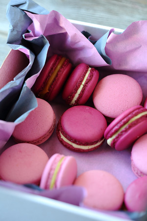 sweet macaroons with caramel and white chocolate