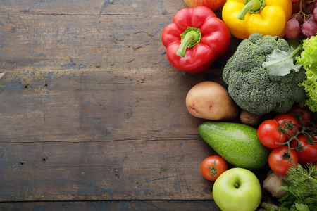 rustic food: fresh food on rustic background
