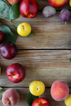 alycha: fresh summer fruits on table, food top